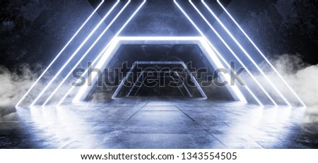 Smoke Fog Sci Fi Fluorescent Futuristic Modern Concrete Grunge Neon Retro Glowing Blue Triangle Construction Shaped Lights Lasers Hologram Tunnel Hall Garage Spaceship 3D Rendering Illustration