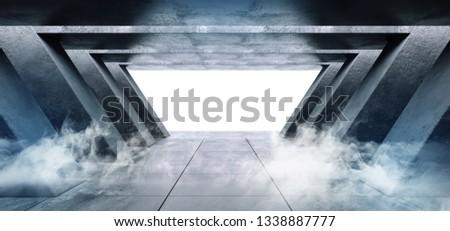 Smoke Fog Steam Grunge Concrete Modern Empty Space Garage Underground Tunnel Gallery White Glowing Shadows Dark And Bright Tiled Floor 3D Rendering Illustration