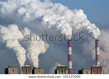 Smoke from the pipes of heat station - Moscow