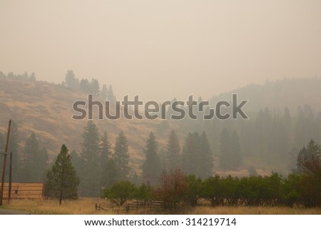 Smoke from the Stickpin forest fire from Washington State, USA, moving into British Columbia Canada.