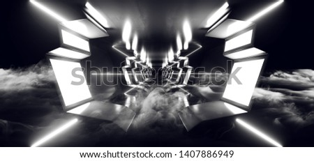 Smoke Futuristic Futuristic Sci Fi Modern Glossy Metal Reflective Alien Spaceship Entrance Hallway Corridor Tunnel Dark Laser White Glowing 3D Rendering Illustration