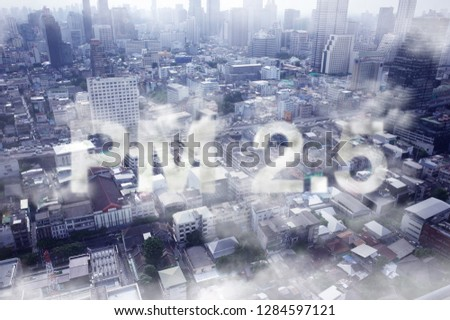 smoke in the city , pm 2.5 concept , air pollution