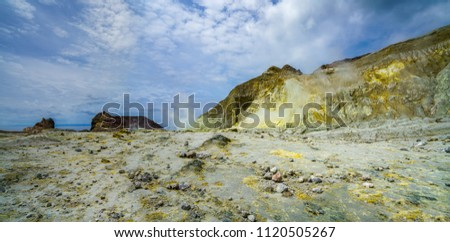 Smoke in volcanic crater, moonscape on white island,new zealand