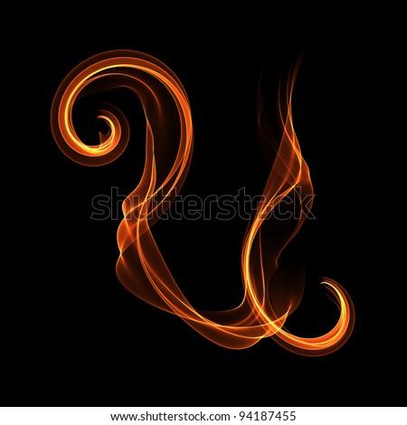 Smoke like handwritten font Letter U