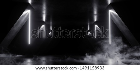 Smoke Neon Laser Glowing White Sci Fi Futuristic Grunge Concrete Triangle Shape Tunnel Corridor Showroom Night Dark Empty Background Spaceship Club 3D Rendering Illustration