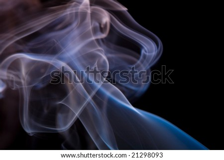 smoke on black background - stock photo