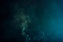 smoke on blackbackground.Movement of white smoke.black background. Smoke from cigarettes.