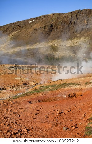 Smoke rising from hot springs in Iceland
