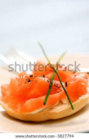 Smoke salmon and cream cheese on mini bagel and garnishing of chives.