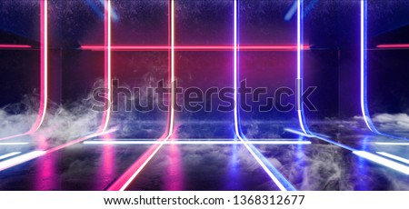 Smoke Sci Fi Futuristic Alien Retro Virtual Reality Neon Glowing Fluorescent Purple Blue Vibrant Line Lights In Refelctive Grunge Concrete Glossy Room Stage Hall Psychedelic  3D Rendering Illustration
