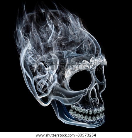 Smoke skull as a symbol or personification of death.