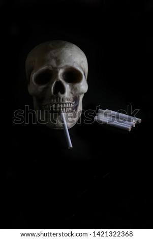 smoke, smoker, cigarette, cigarettes, tobacco, drug, drugs, addict, addiction, health, skull, skeleton, unhealthy, death, medical, medicine, horror, danger, bad, hell, dead, fear, drug addition,  #1421322368