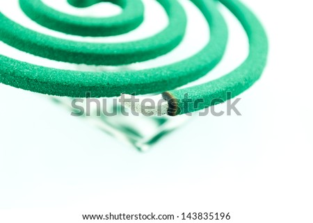 Smoke spiral usable against mosquitoes and other insects - Burning mosquito coil as anti insect