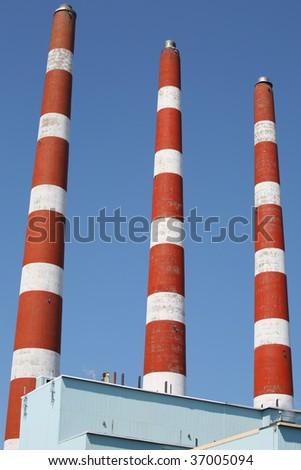 Smoke stacks of the power plant in Halifax, Nova Scotia.