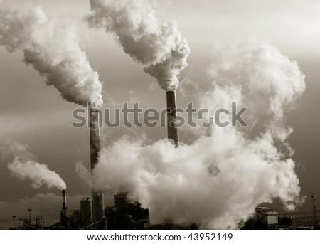 Smoke stacks polluting the planet