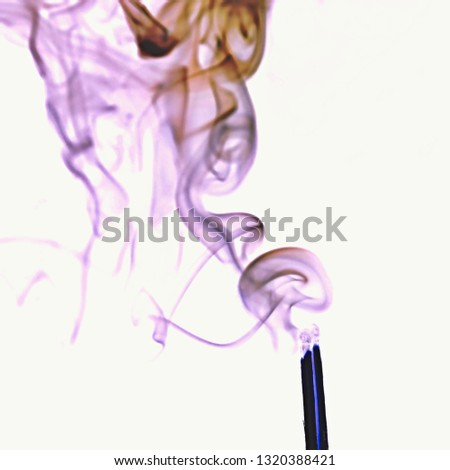 Smoke swirls of an extinguished match swirling to the upper left in the colors gray to pale purple. Negative picture with white background, delicate and translucent. #1320388421