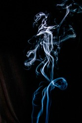 Smoke wisps taken against a black background
