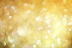 Smoke yellow glitter background, lens bokeh effect, colorful spot backdrop, blur gold bubble banner, abstract pastel circle dot scene
