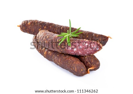 Smoked and air dried sausages from South Tyrol / Italy