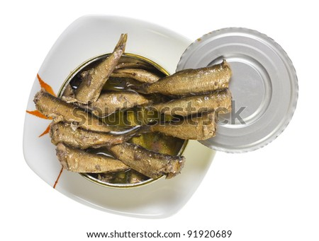 Smoked Baltic sea  golden sprats in oil tin isolated