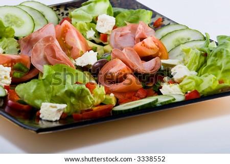 Smoked beef, healthy fresh salad platter, food series