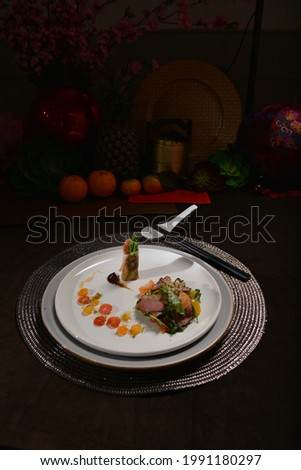 smoked duck slice with fresh vegetables salad appetiser menu Stock photo ©