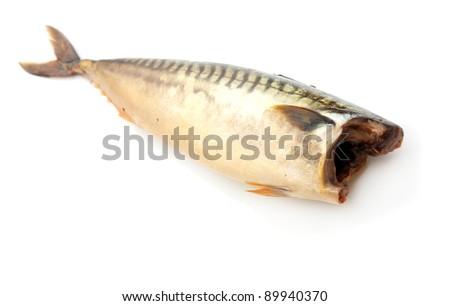 Smoked mackerel on a white background