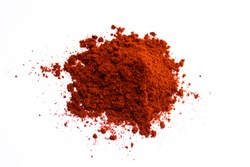Smoked paprika. Seasoning. On a white background.