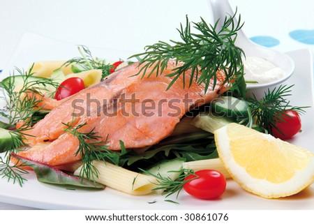 Smoked salmon and pasta