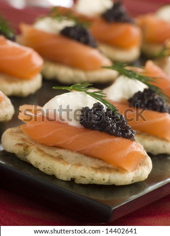Smoked Salmon Blinis Canaps with Sour Cream and Caviar