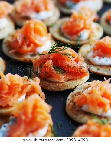 Shutterstock Smoked Salmon Canape for Christmas celebration.