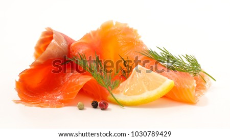 smoked salmon isolated on white background #1030789429