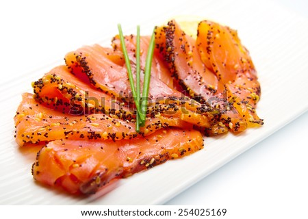 Shutterstock smoked salmon on white dish with chive