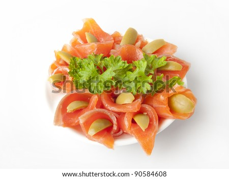 smoked salmon on white plate