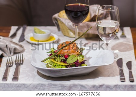 smoked salmon served on a plate
