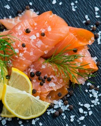 Smoked Salmon with Lemon and Dill selective focus