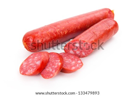Smoked sausages isolated on white background