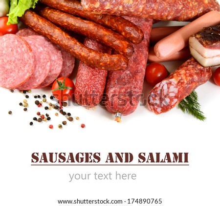 smoked sausages, salami on white background
