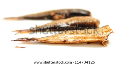 Smoked sprats in oil on white background