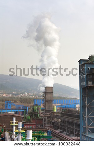 Smoked stack over steel plant