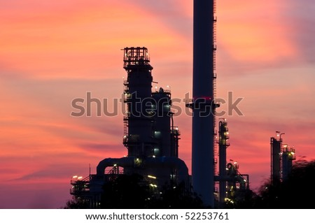 Smokestack on sunset sky, Thailand