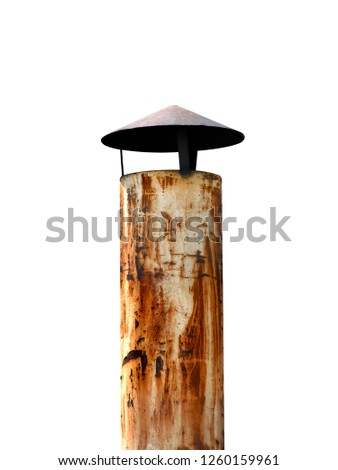 smokestack steel for Industrial on roof factory or home, smokestack small flue chimney with smoke pollution, smokestack, flue, chimney isolated on white background (selective focus)