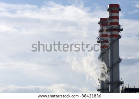 smokestacks of a power plant for electric energy production in Escatron, Saragossa, Aragon, Spain