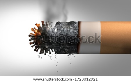 Smoking and coronavirus health problem as a cigarette shaped as a virus cell as influenza or covid-19 representing respiratory disease or breathing illnesses due to tobacco smoke as a 3D illustration.