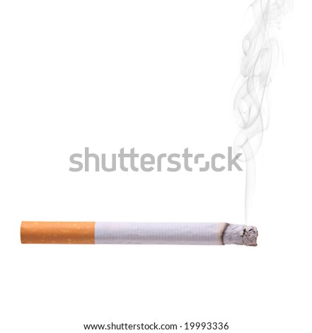 Smoking cigarette isolated against white background