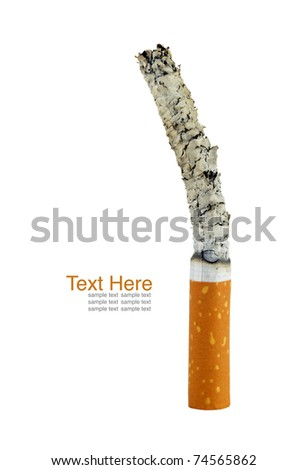 Smoking cigarette. Isolated on white