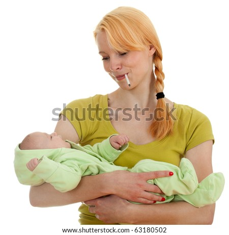smoking cigarette mother with three months old son