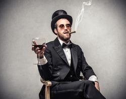 smoking elegant man