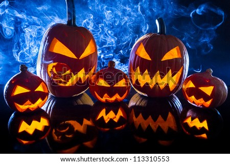 Smoking group Halloween pumpkins
