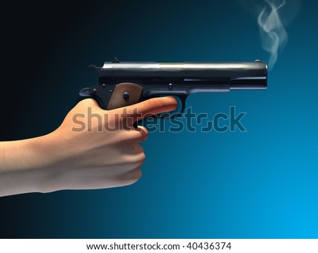 Smoking gun held by a male hand. Digital illustration, clipping path included.